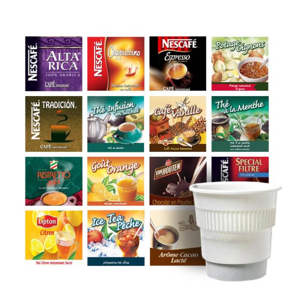 pack de 300 gobelets pré-dosés panachés (choix c)