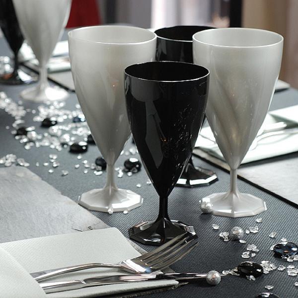 132 verres à eau design plastique rigide noir 25 cl