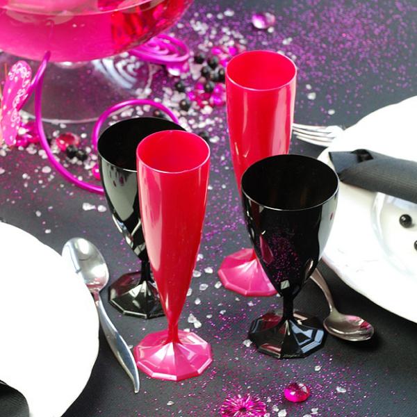 flûte à champagne monobloc de luxe design rose magenta 13 cl x 200
