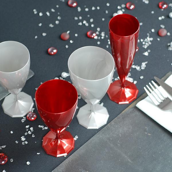 verre à eau jetable design rouge carmin x 6