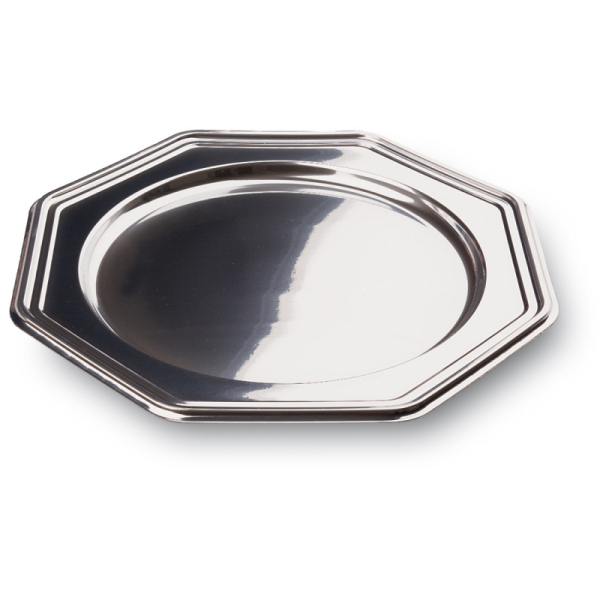 plat octogonal en plastique rigide métallisé (30 cm) x 5