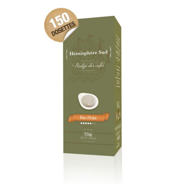 dosettes ese café 100% arabica hémisphère sud x 150