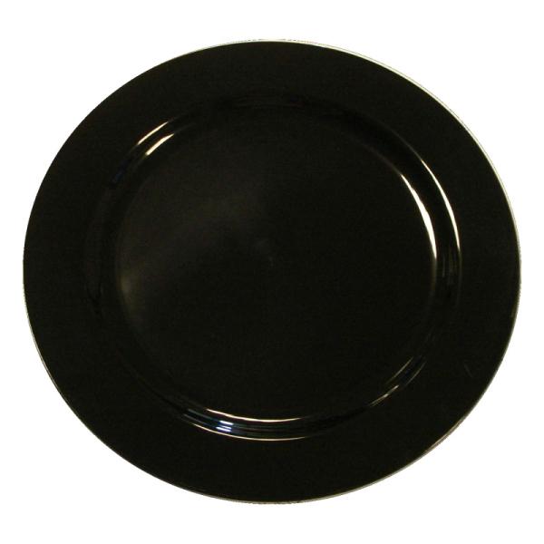 assiette en plastique rigide noir (19 cm) x 20