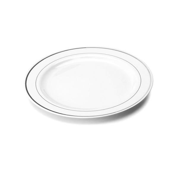 20 assiettes en plastique rigide blanc liseré argent 19 cm