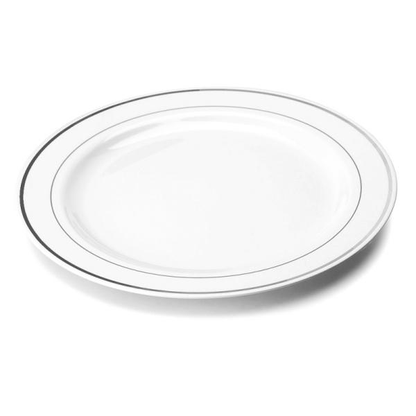 20 assiettes en plastique rigide blanc liseré argent 23 cm