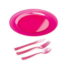 kit assiette et couvert plastique framboise 6 pers. x 30