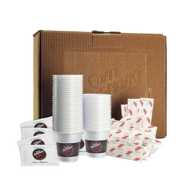 kit 150 gobelets, 150 bûchettes de sucre & 150 spatules caffè vergnano