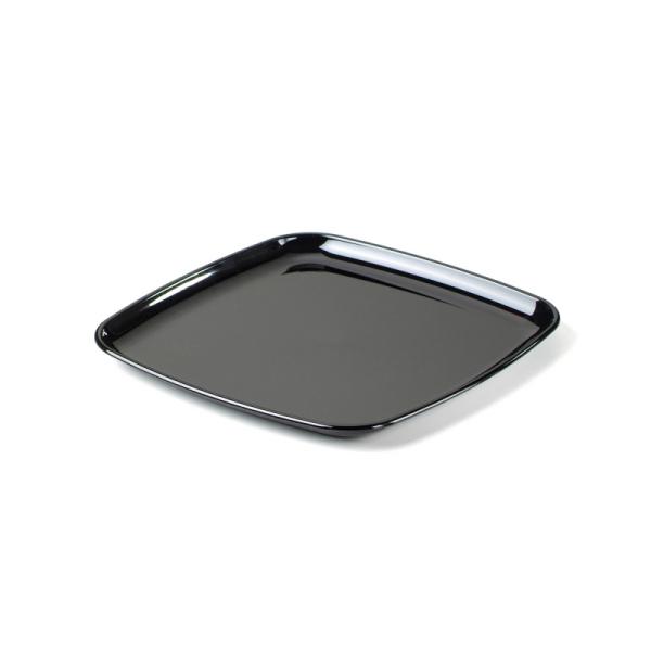 plateau carré en plastique rigide noir (27 cm) x 5