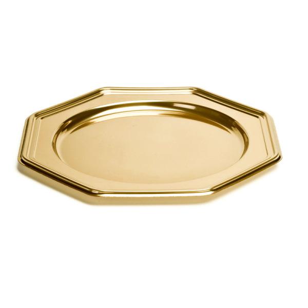 5 plat octogonaux en plastique rigide or 30 cm