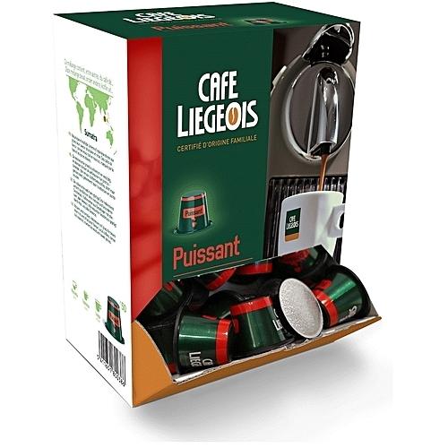 50x capsules compatible nespresso® puissant - café liegeois
