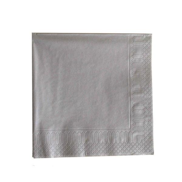 serviette 3 plis papier micro gaufrée métallisé argent (33 cm) x 20