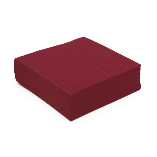 serviette cocktail papier micro gaufrée bordeaux (25 cm) x 50