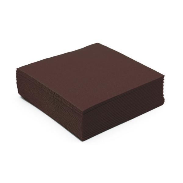 serviette cocktail papier micro gaufrée chocolat (25 cm) x 50