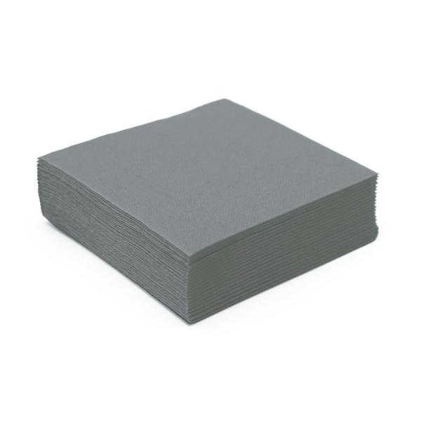 serviette cocktail papier micro gaufrée gris (25 cm) x 50