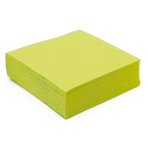 serviette cocktail papier micro gaufrée vert anis (38 cm) x 50
