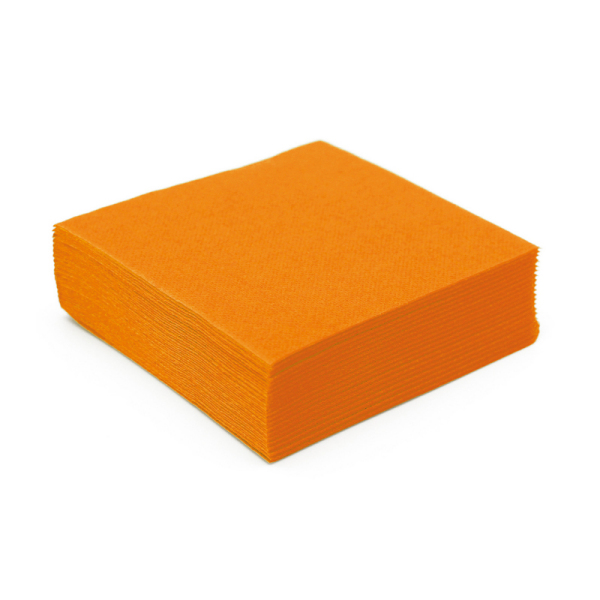 serviette cocktail papier micro gaufrée orange (25 cm) x 50