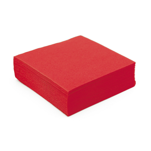 serviette cocktail papier micro gaufrée rouge (25 cm) x 50