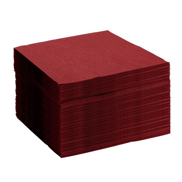 serviette bordeaux papier microgaufré 38cm double épaisseur - lot de 50
