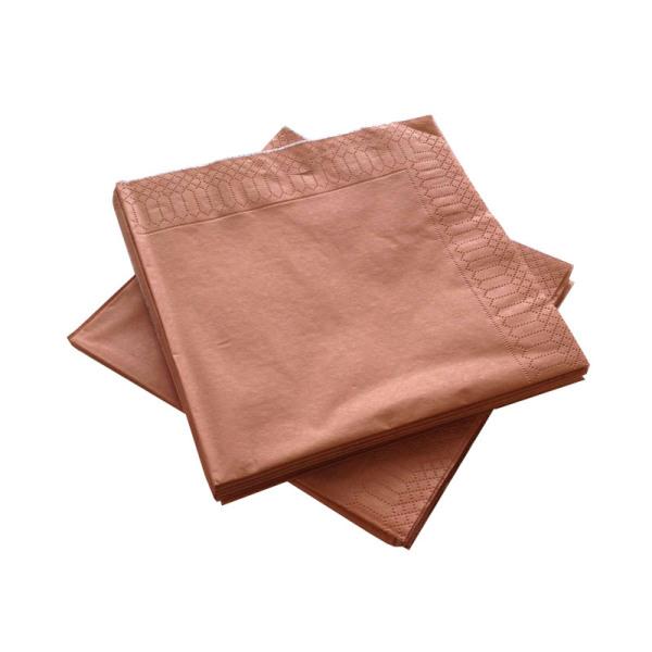 serviette 3 plis papier micro gaufrée métallisé cuivre (33 cm) x 20