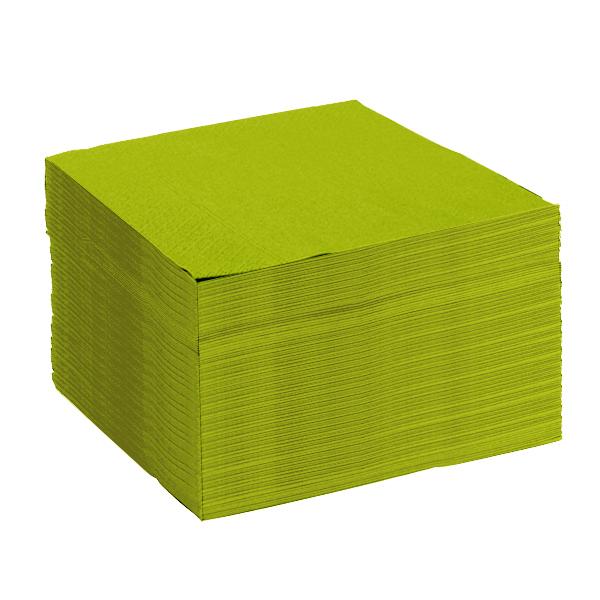 serviette vert pomme papier microgaufré 38cm double épaisseur - lot de 50