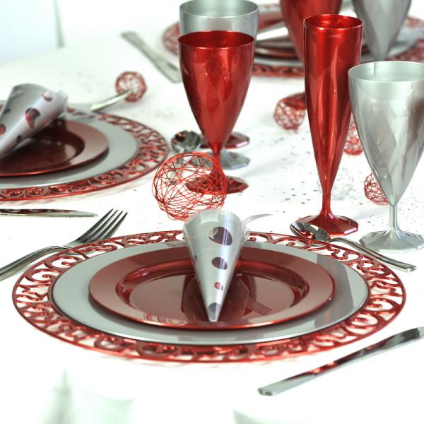 sous-assiette ronde rouge (30 cm) x 4