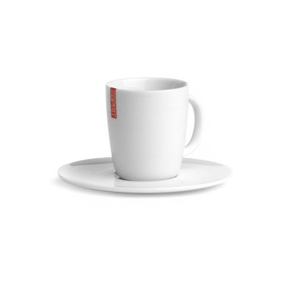 tasse à café avec soucoupe en porcelaine blanche esprit home - lot de 2