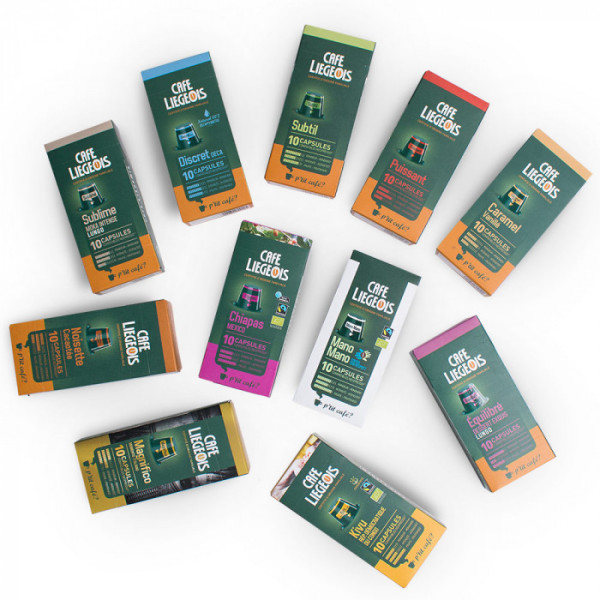 10 capsules compatible nespresso® discret décaféiné- café liegeois