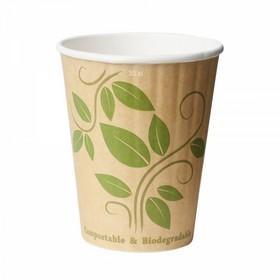 35 gobelets en papier biodégradable double paroi feuillage 35 cl