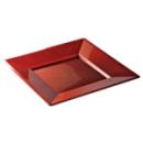 assiette carrée plastique rouge carmin prestige (24 cm) x 12