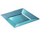 Assiette carrée plastique turquoise Prestige (24 cm) x 12