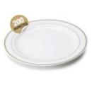 200 assiettes en plastique rigide blanc liseré or 26 cm