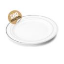 200 assiettes en plastique rigide blanc liseré argent 23 cm