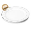 200 assiettes en plastique rigide blanc liseré argent 26 cm