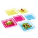 Assiette carrée plastique rigide framboise (18 cm) x 20