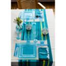 Assiette carrée plastique rigide turquoise (23 cm) x 20