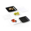 20 assiettes en plastique rigide carré noir 18 cm
