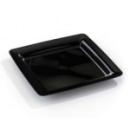 20 assiettes en plastique rigide carré noir 23 cm