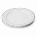 20 assiettes en plastique rigide blanc liseré or 26 cm