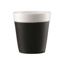 Set 2 mugs en porcelaine BISTRO BODUM® avec bande silicone 17 cl noir