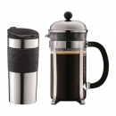 Set Cafetière à piston CHAMBORD BODUM® 1 l et un travel mug en inox 35 cl noir