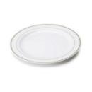 20 assiettes en plastique rigide blanc liseré or 23 cm