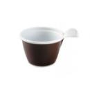 tasse à café en plastique marron/blanc avec anse 10 cl x 50