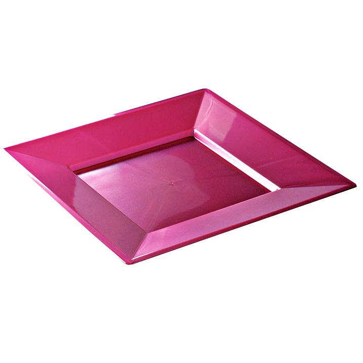 assiettes carr es en plastique rigide pourpre 24 cm. Black Bedroom Furniture Sets. Home Design Ideas