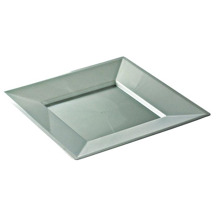 assiettes carr es en plastique rigide argent 24 cm. Black Bedroom Furniture Sets. Home Design Ideas