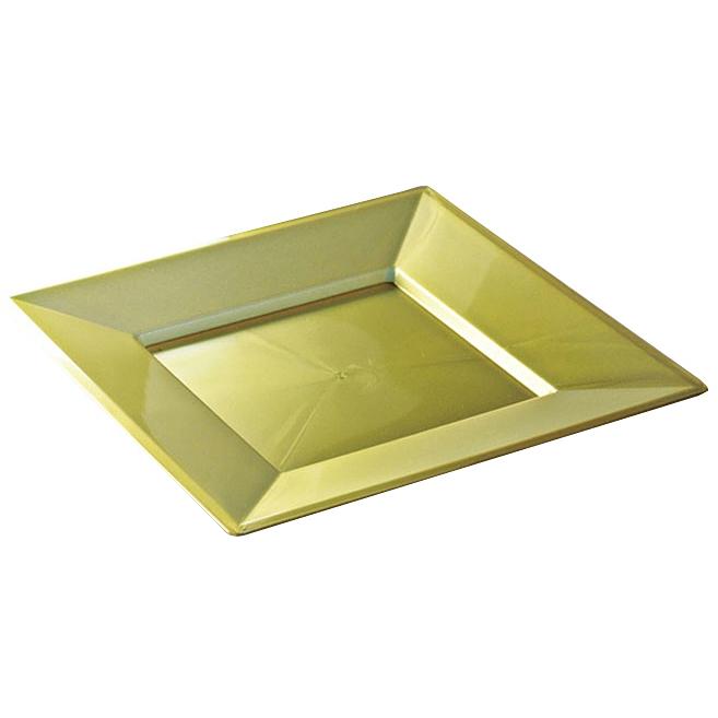 assiettes carr es en plastique rigide or 24 cm. Black Bedroom Furniture Sets. Home Design Ideas