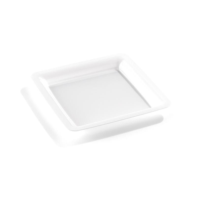 assiette carr e en plastique blanc 18 cm. Black Bedroom Furniture Sets. Home Design Ideas