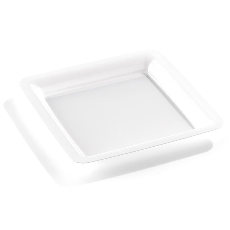 assiette carr e en plastique blanc 23 cm. Black Bedroom Furniture Sets. Home Design Ideas