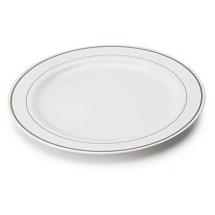 Assiette en plastique rigide blanc liser or 26 cm - Assiette pas cher en gros ...
