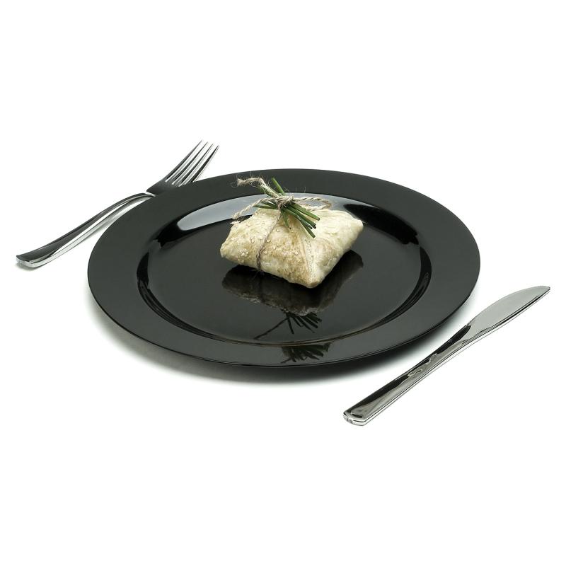 assiette ronde en plastique rigide noir 23 cm. Black Bedroom Furniture Sets. Home Design Ideas