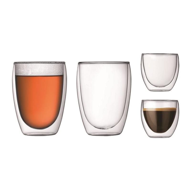 set 4 verres double paroi pavina bodum 8 cl et 35 cl. Black Bedroom Furniture Sets. Home Design Ideas
